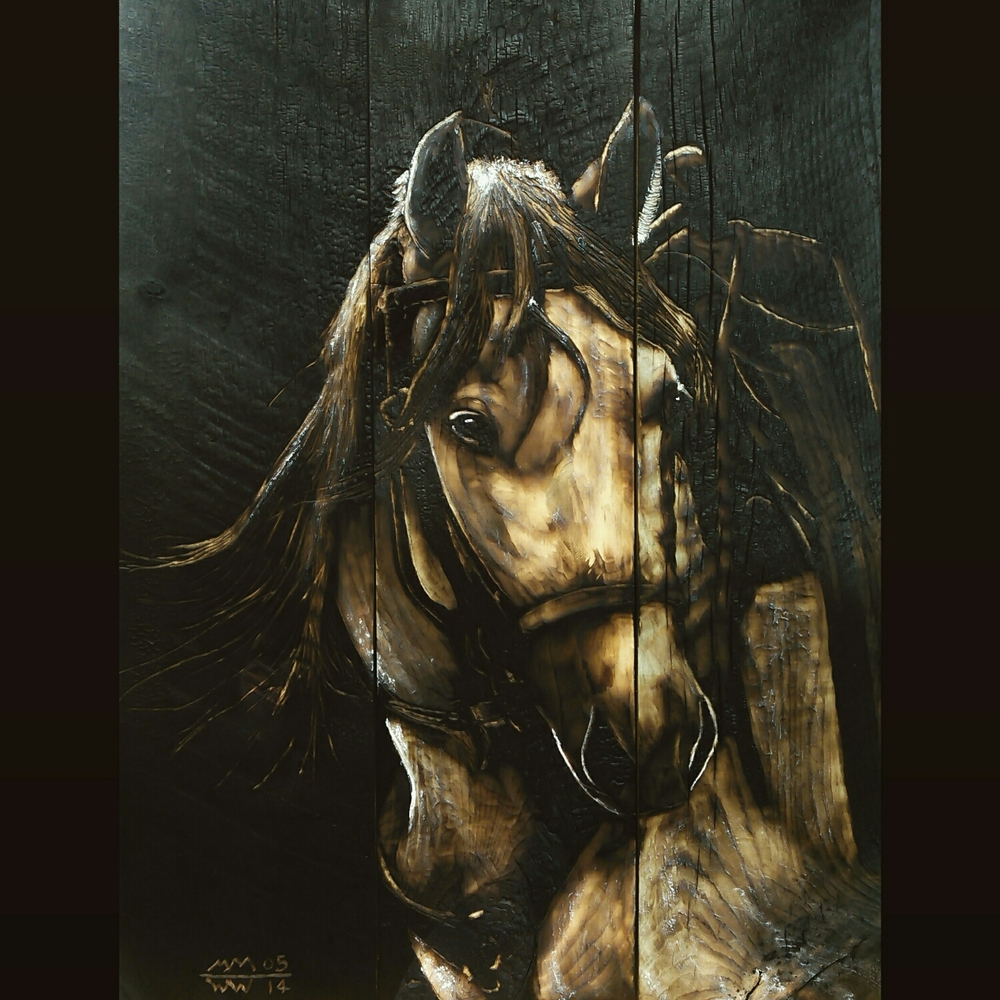 horse on charred wood