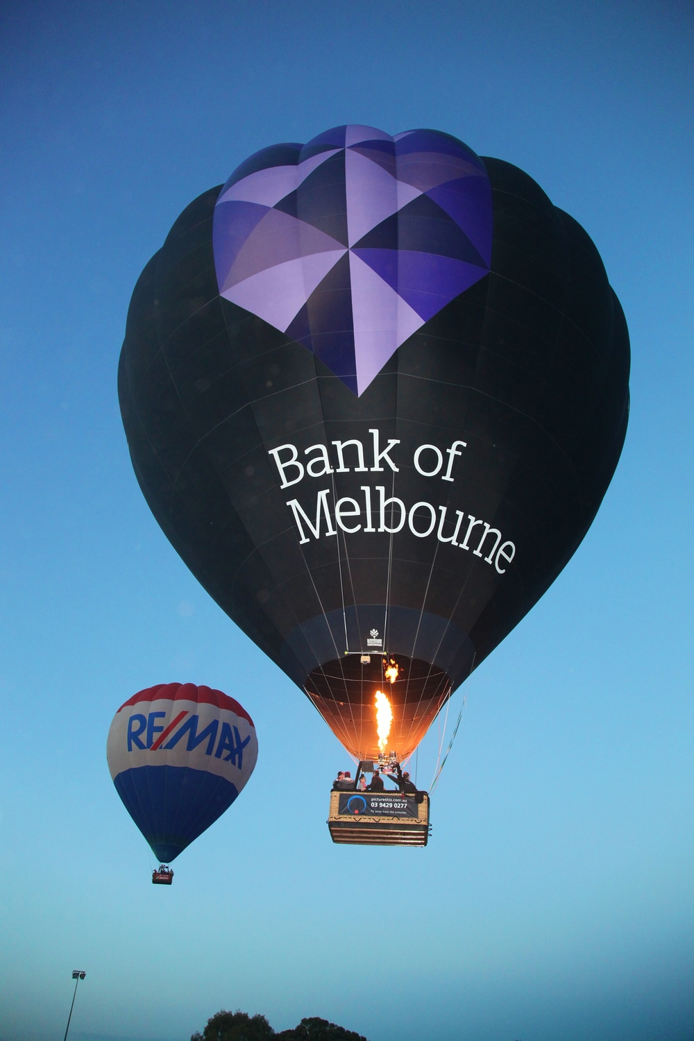 Our Bank of Melbourne passenger balloon that regularly flies over Melbourne CBD.