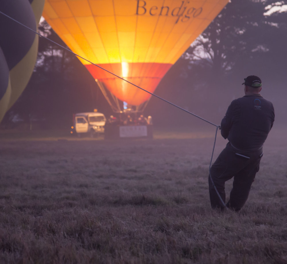 Our crew preparing a balloon for flight in the Yarra Valley.