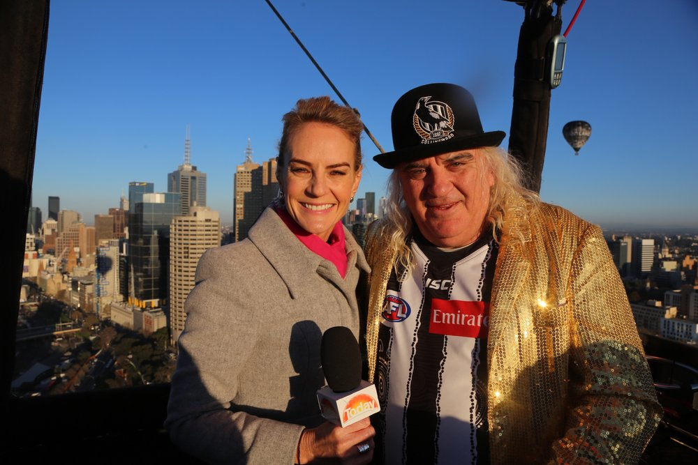 Channel 9's Christine Ahern & Joffa moments before the live cross on The Today Show.