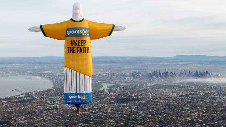 Sportsbet's 'Christ the Redeemer' Balloon over Melbourne in the lead up to the 2014 World Cup in Rio.