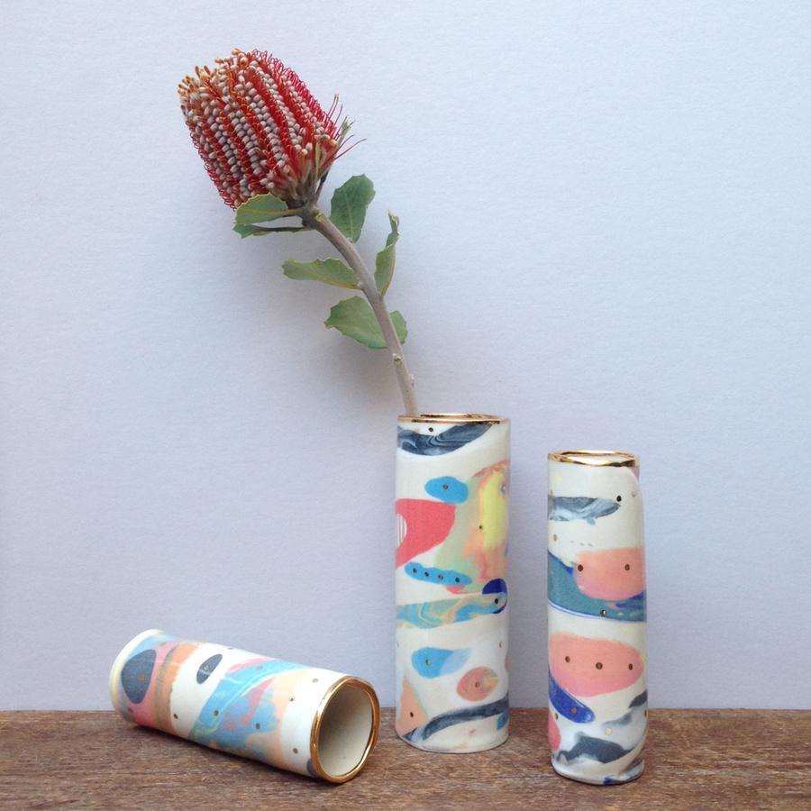 ruby pilven handmade nerikomi porcelain vase falling for florin