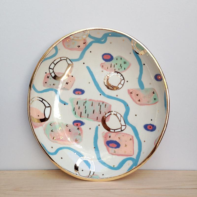 ruby pilven porcelain lustre ceramic dish falling for florin