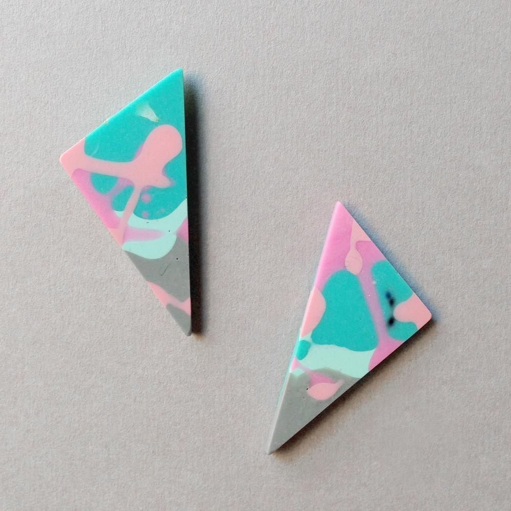 flock curiosity triangle resin earrings falling for florin