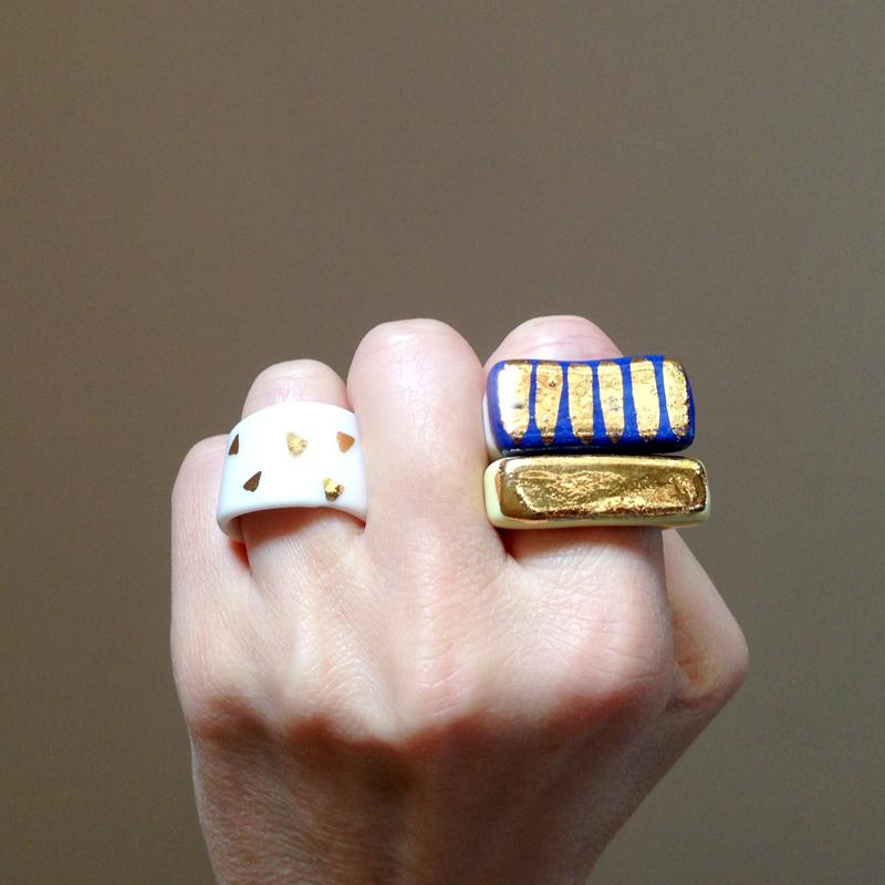 ruby pilven handmade porcelain lustre bling rings falling for florin