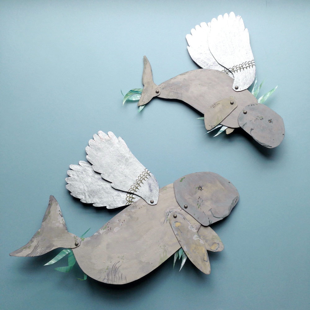 beconservato mixed media winged paper dugongs falling for florin