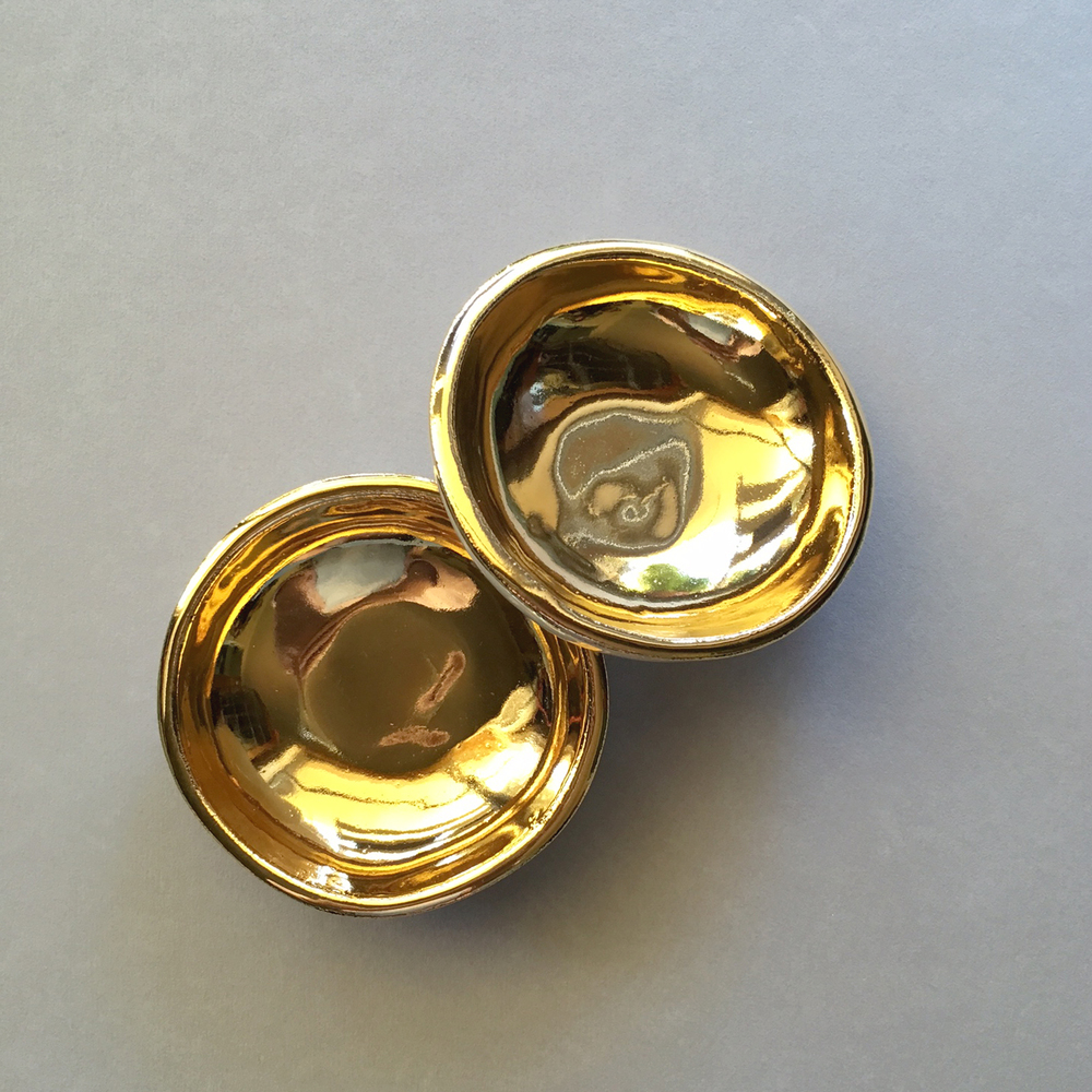 ruby pilven handmade gold lustre porcelain dish falling for florin