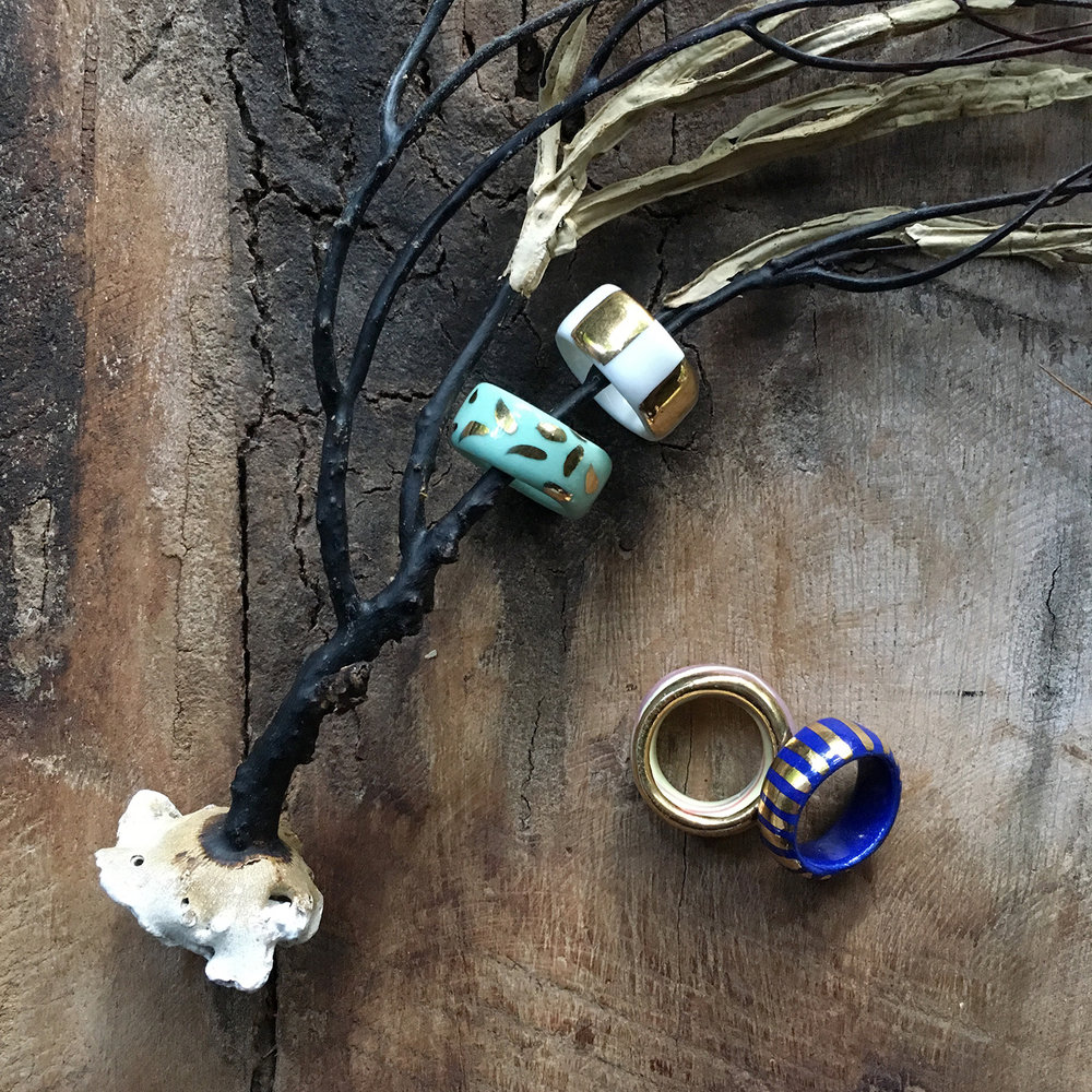 falling for florin handmade porcelain lustre rings by ruby pilven