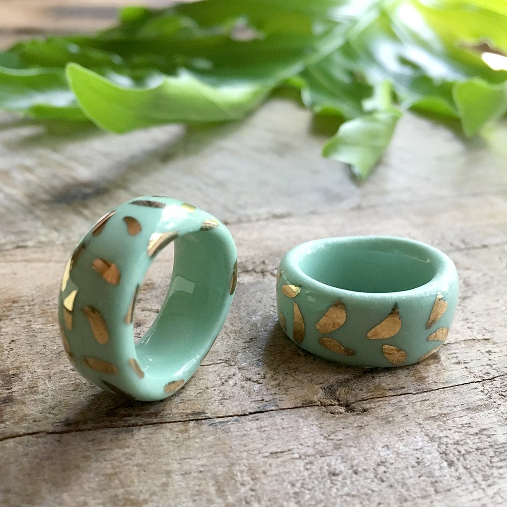 handmade porcelain rings by Ruby Piven falling for florin key west