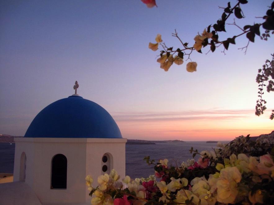 Santorini_dome & flowers_sunset.jpg