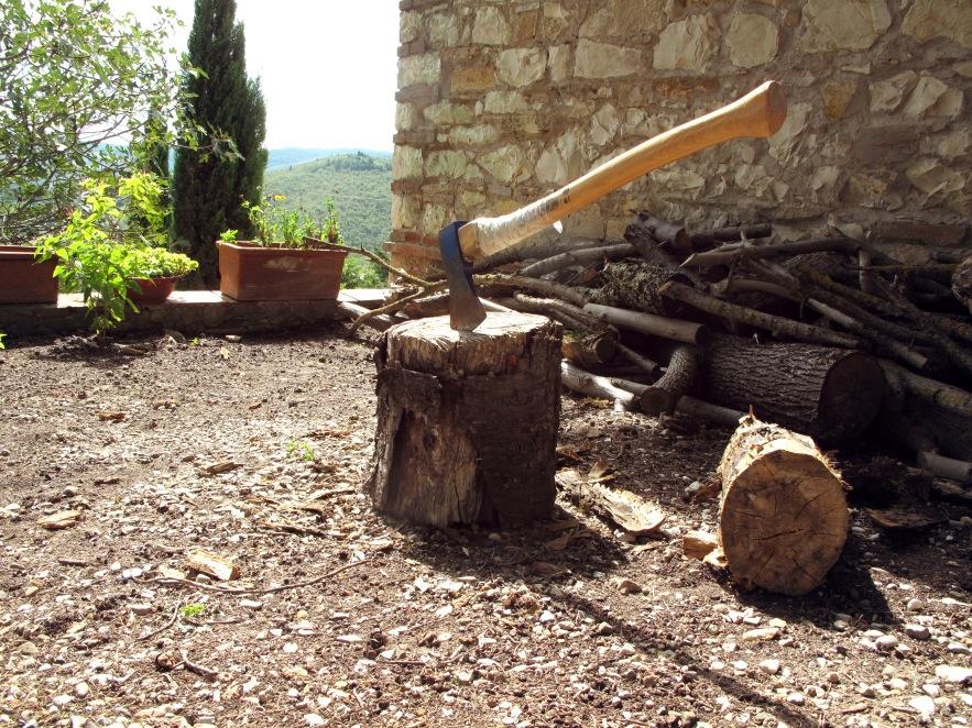 Tuscany_Axe in wood_farmhouse.JPG