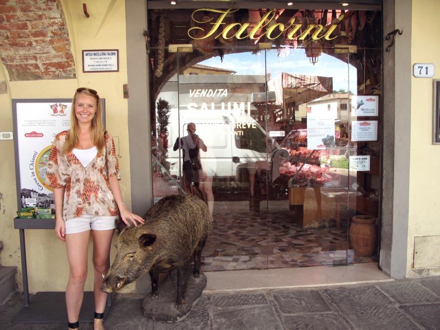 Visiting thewell-known Antica Macelleria Falorni Butcher in Greve, Chianti
