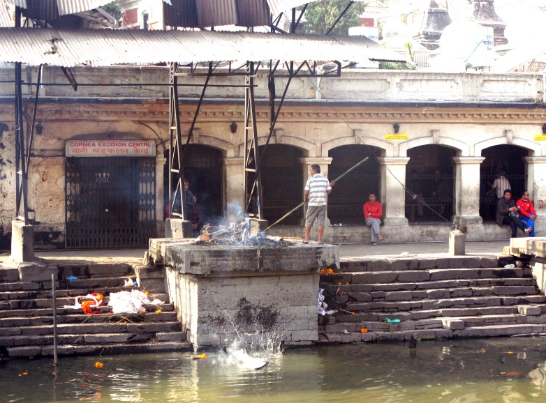 Once the bodies are cremated they are pushed into the holy river.