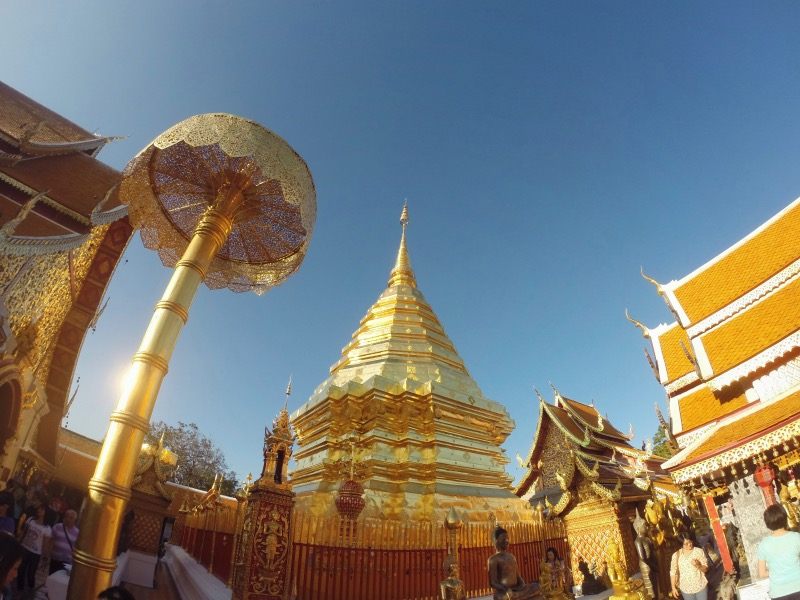 visiting the beautiful'Temple of the golden mountain' ( '  Wat Phrathat Doi Suthep') just outside of Chiang Mai