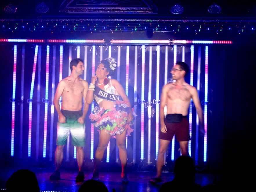 These poor guys got pulled up to the stage, stripped of their clothes, then tricked into kissing the performer on the lips.