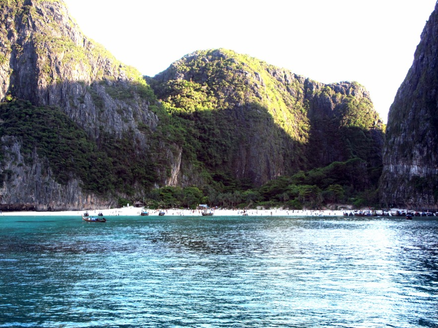arriving at Mya Bay, it really is beautiful. The cliffs are so dramatic and the water is crystal clear and perfectly warm.