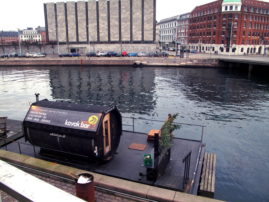 'Kayak Bar' - Awesome bar on the canal where you can go in the floating sauna outside if you so chose.
