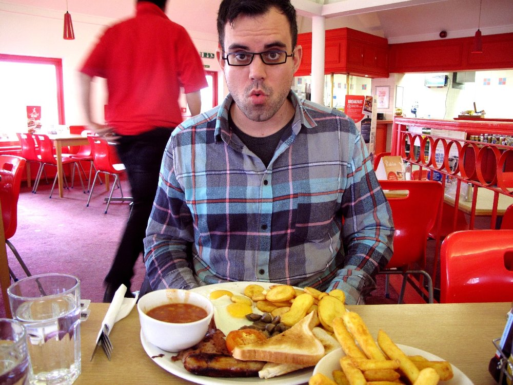 Pit stop at an english highway diner.