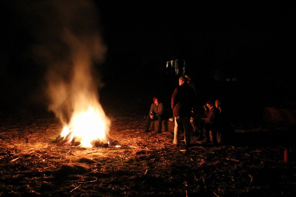 Bon fire out in the corn fields with Alex's family friends Phyllis and Allen.