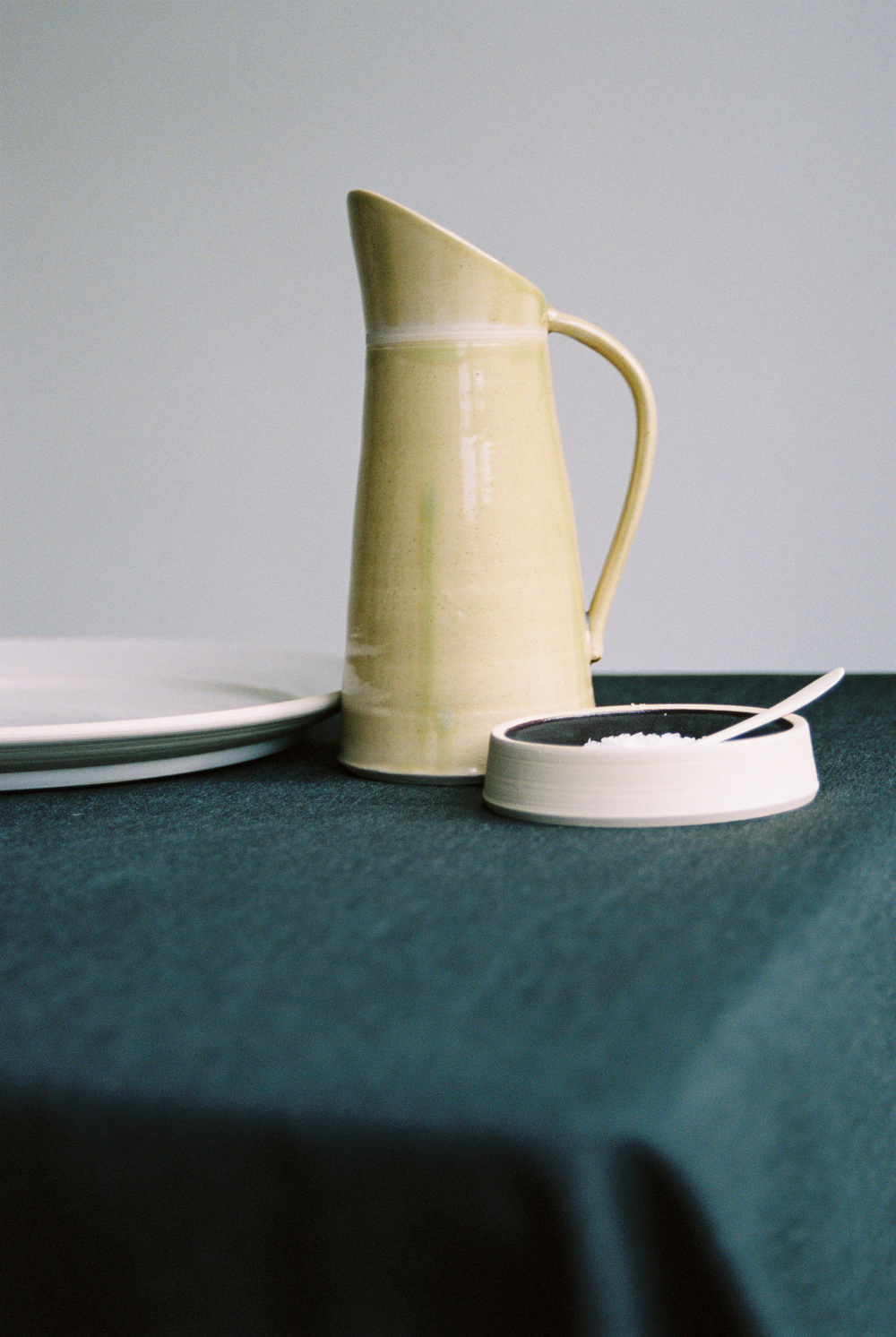 Handmade medium jug, platter and condiment dish by Jane Sarre Ceramics