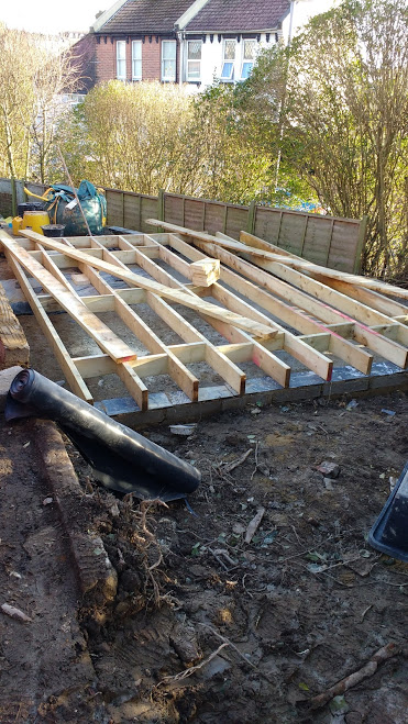Floor joists go down