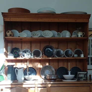 Mum's dresser, with the Marianne plates on the centre shelf
