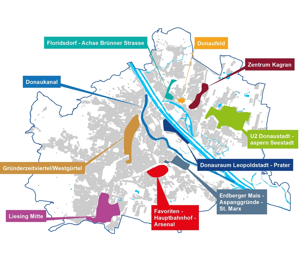 Target areas of Vienna urban development (2014)
