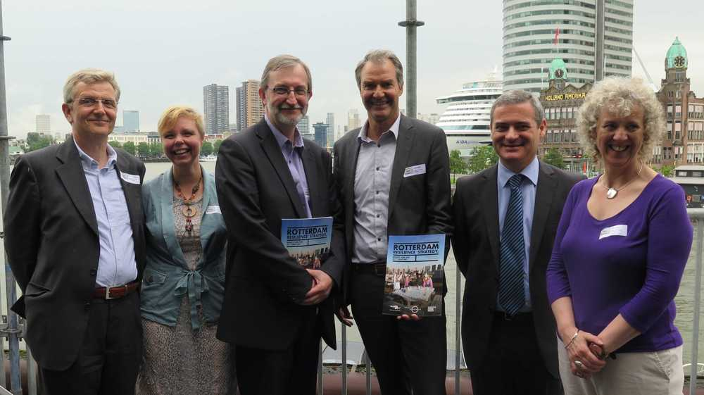 Chief Resilience Officer of Rotterdam Arnoud Molenaar together with Chair of COST action 1206 Sub-Urban Diarmad Campbell (BGS) and representatives from the Resilience City Lisbon  Paulo P. Pais and Resilient City Glasgow Cathy Johnston, together with Ignace van Campenhout from Rotterdam Municipality and Sub-Urban member and colleague.
