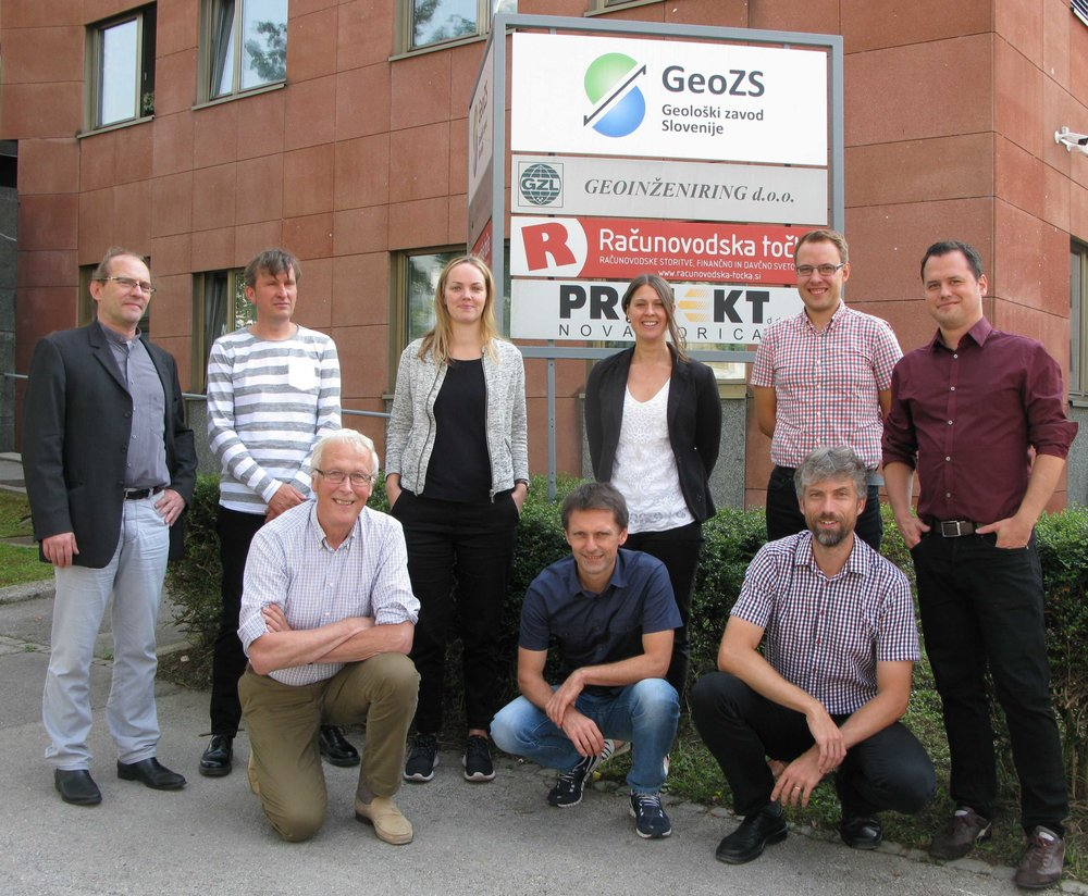 City meeting hosted at the Geological Survey of Slovenia. From left to right, back row: Ivan Stanic Ljubljana, Rik De Nooier from Rotterdam, Johanna Ljungdahl from Gothenburg, Ingelov Eriksson from Oslo, Ronny Kristiansen from Oslo and  Herrbert Hemis from Vienna. Front row: Johan Borchgrevink from Oslo, Mitja Janza from Ljubljana and Jiri Ctyroky from Prague.