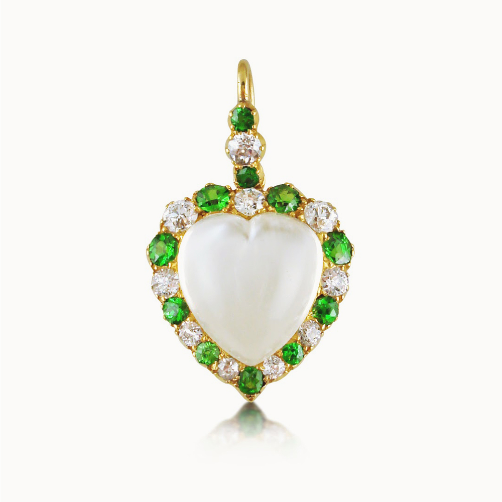 ANTIQUE MOONSTONE, DEMANTOID GARNET AND DIAMOND HEART PENDANT