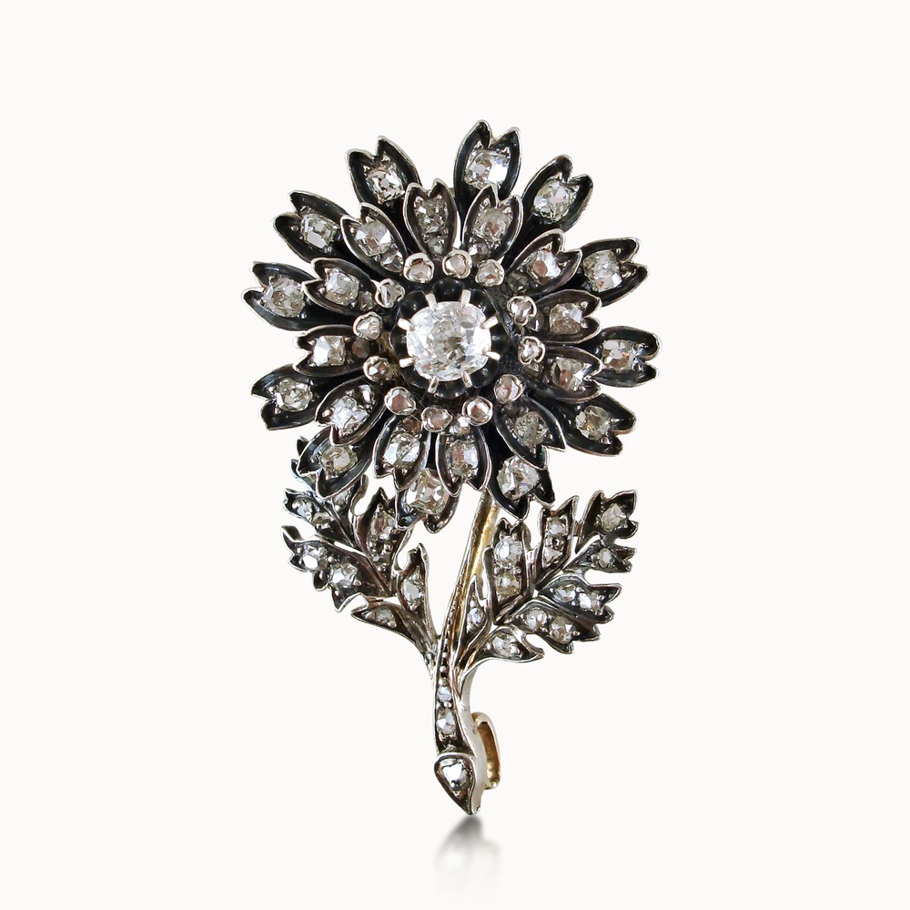 ANTIQUE DIAMOND DAISY BROOCH
