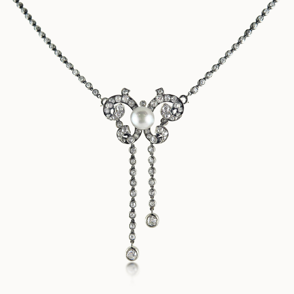 EDWARDIAN DIAMOND AND PEARL LAVALIERE