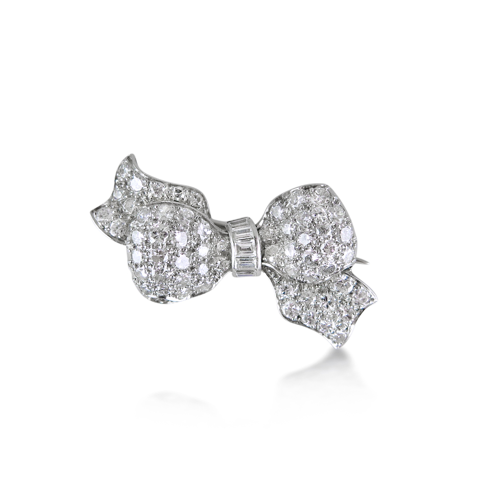 art deco diamond ribbon bow brooch, humphrey butler