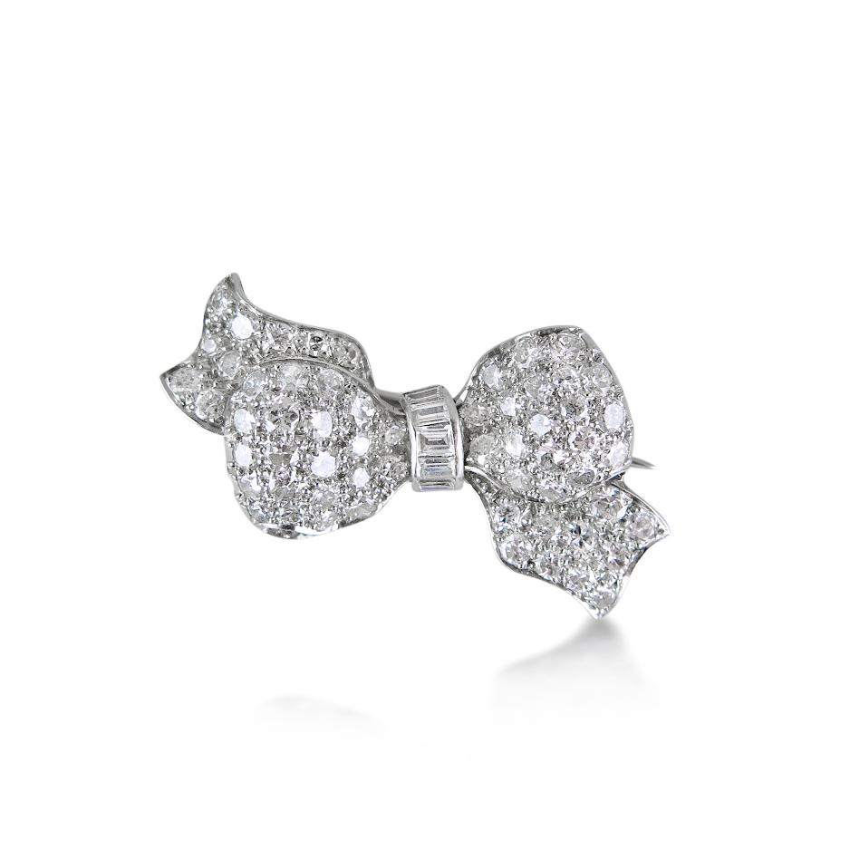 art deco diamond ribbon bow brooch, humphrey butler
