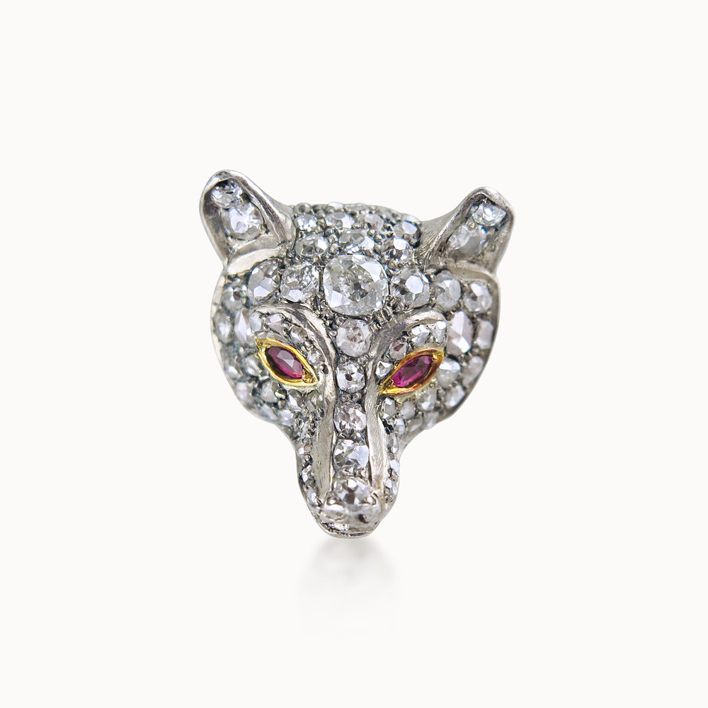DIAMOND FOX MASK BROOCH