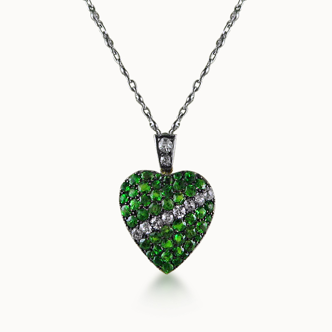 DEMANTOID GARNET AND DIAMOND HEART PENDANT