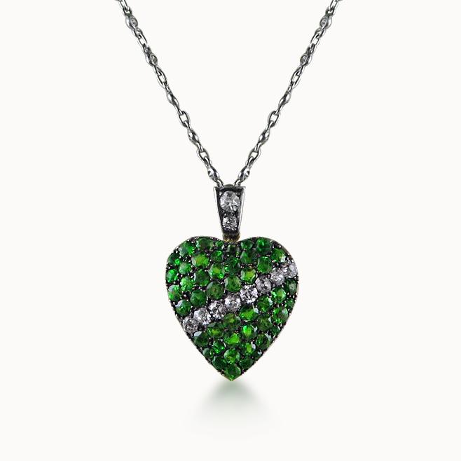 DEMANTOID GARNET AND DIAMOND HEART PENDANT