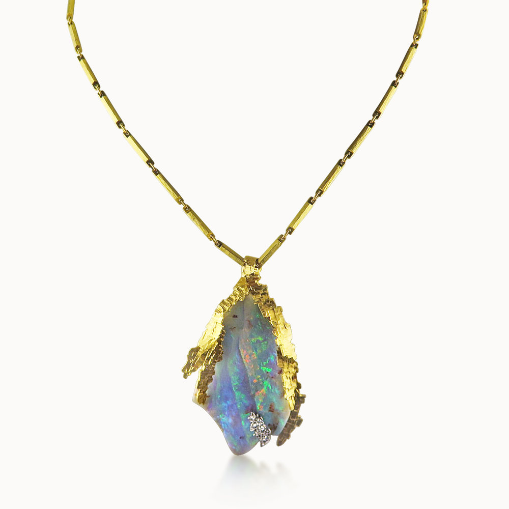 OPAL DIAMOND AND GOLD NECKLACE BY GRIMA
