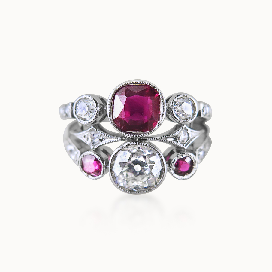 RUBY AND DIAMOND COCKTAIL RING