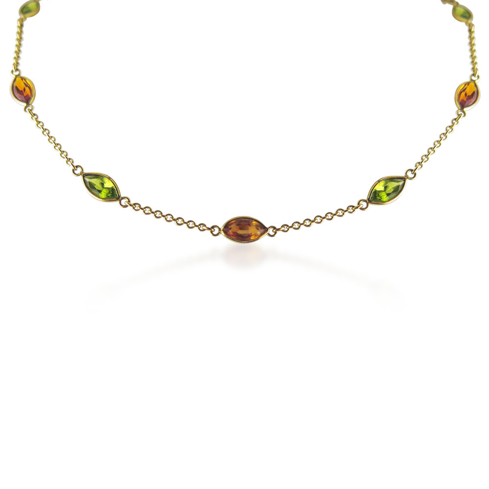PERIDOT AND CITRINE GOLD NECKCHAIN