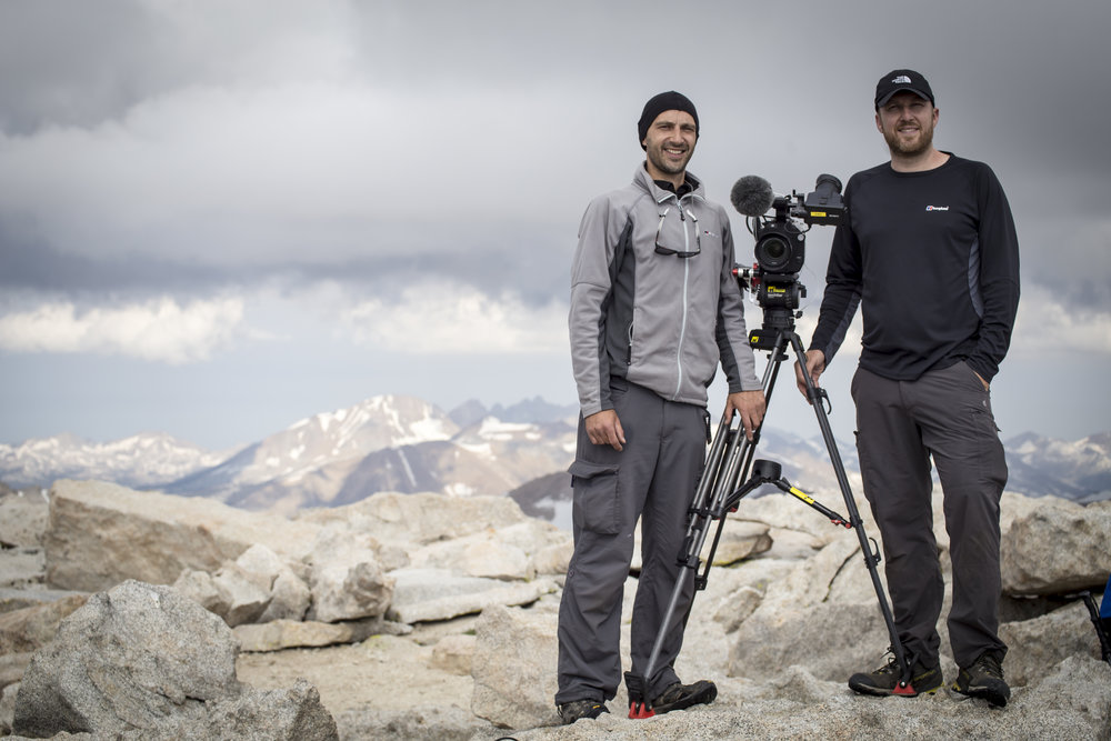 Me and Director Wes at the summit. Not sure why we are both holding onto the tripod. A bit light headed maybe....
