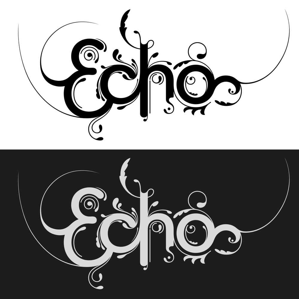 Finished lettering and calligraphic swooshes