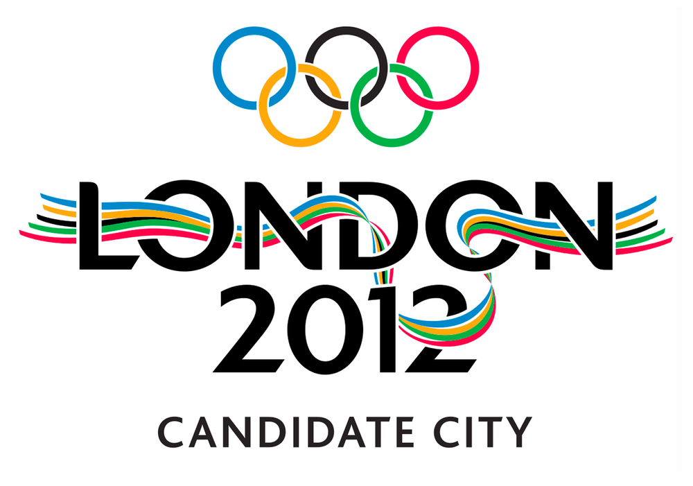 After the successful bid the Olympic rings were added.