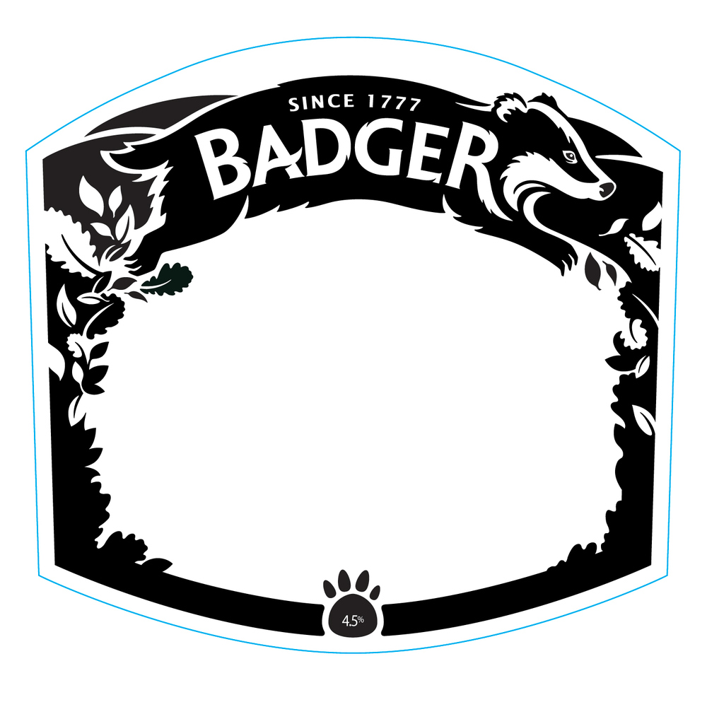 Lettering, finished badger illustration and leaf frame
