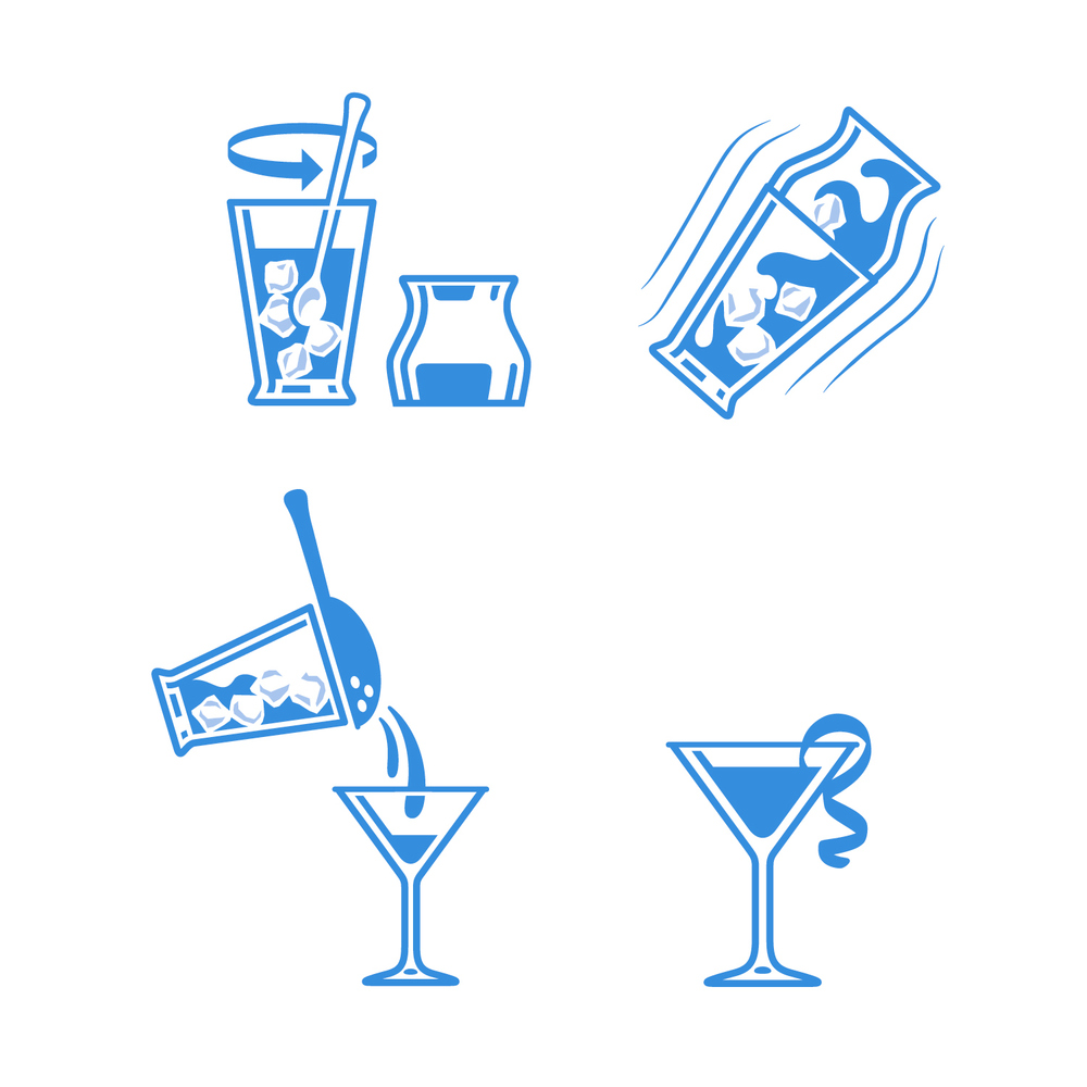 Instructional cocktail shacking icons
