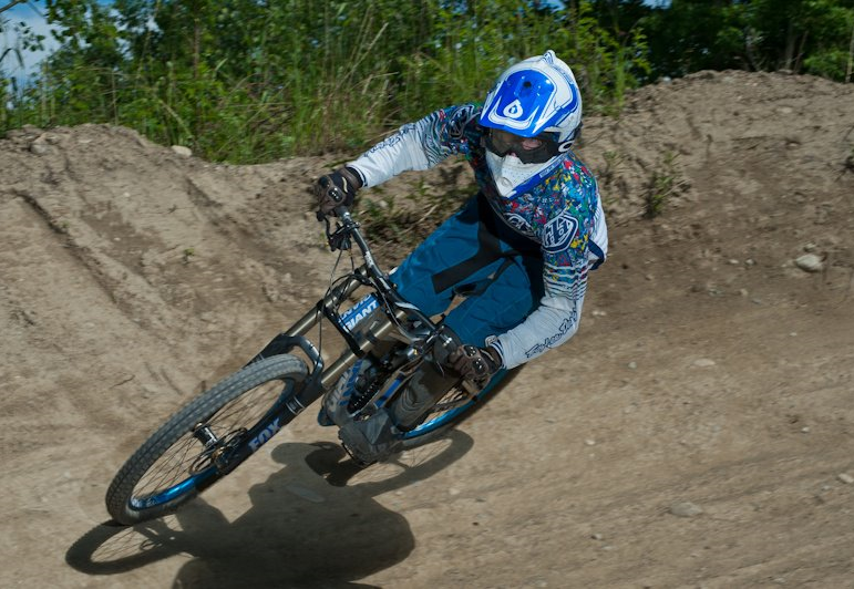 Downhill mountain biking action.
