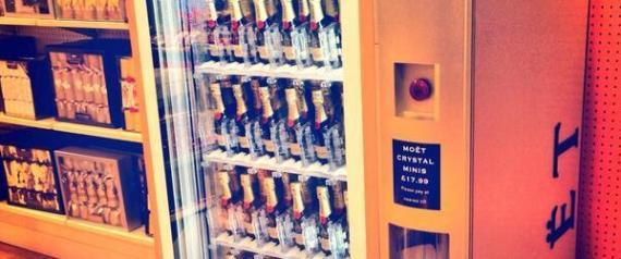 Photo of champagne vending machine selling Moet & Chandon inside Selfridges from Moet UK published on Twitter 20 Nov 2013