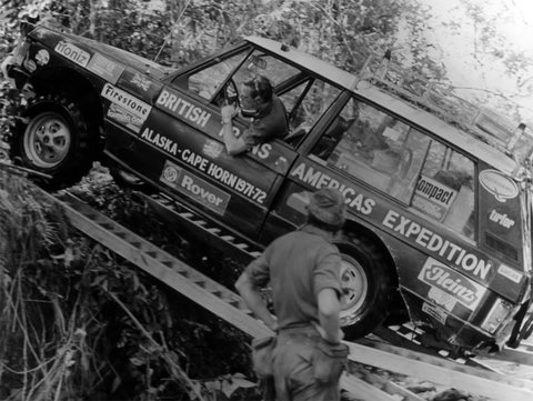 A Range Rover Classic battles the infamous Darien Gap during the Trans-America expedition of 1971.