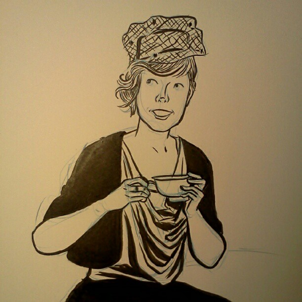 erikamoen: .@lucyknisley in her fine tea regalia. I haven't inked in ages so I used a photo of Lucy to help me warm up. MISS YOU, LADY. EDIT: This photo!