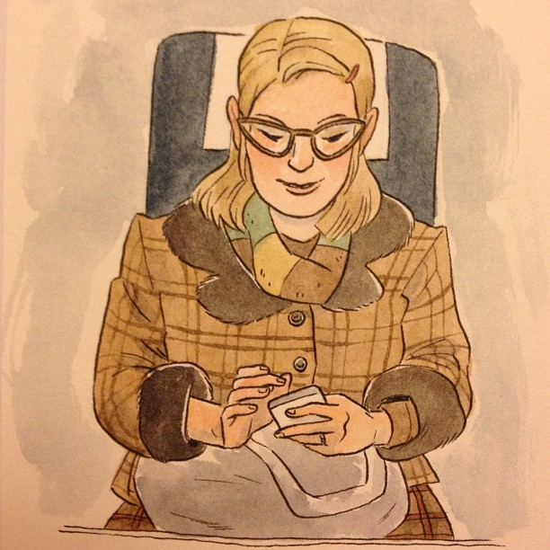sarahmcintyre: Colour version of the train portrait by @LucyKnisley! #drawing